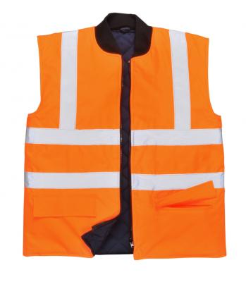 OXFORD 300D obojstranná zateplená vesta reflexná