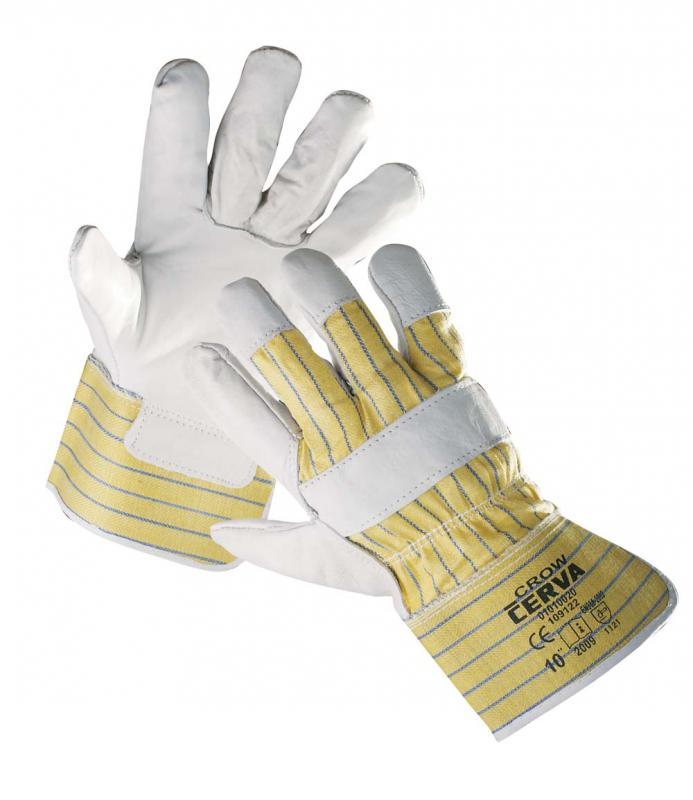 CROW rukavice kombinované koža/textil